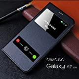 NETBOON Samsung Galaxy A7 (2016) Screen Dual Window View PU Leather Flip Case Cover Durable Dual Protection Perfect Size - Black
