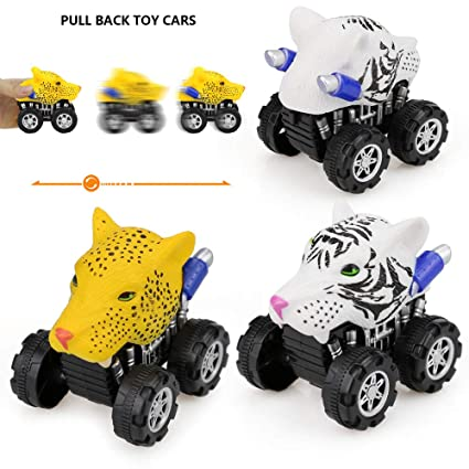 DICPOLIA Lion Friction Powered Car Pull Back Vehicle Mini Animal Toy For Gifts Kids