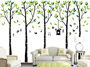 Family Trees with Birds and Music Notations Wall Decals Quote Home Decor Art Quote Wall Stickers Living Room Decoration (6'H x 9'W)