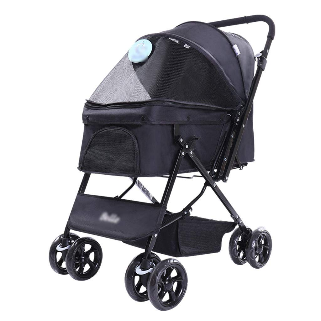 Strollers Pet Dog Pram Folding Pet Trolley Dog Cat Off-Road Vehicle Portable Cat Shopping Cart Pet Outdoor Travel Supplies Can Bear 25 Kg (Color : Black, Size : 954870cm)