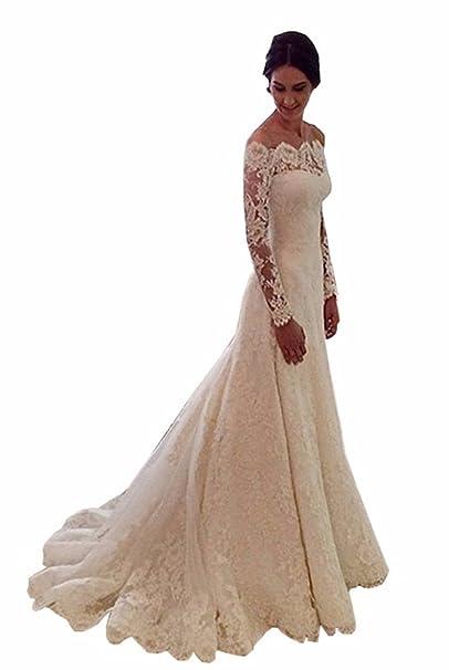 VIPbridal Vintage mangas largas Beteau vestidos de novia de encaje de sirena (32, Marfil