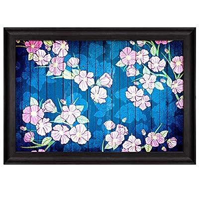 Illustration of Pink Flowers on a Blue Pond Over Wooden Panels Nature Framed Art, Premium Creation, Majestic Handicraft