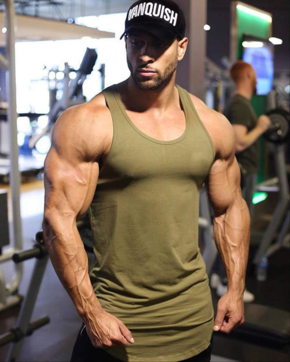 Army vert L NUASH Muscle Fitness Chemise De Course Couleur Pure Veste De Sport sans Manches Jogging Gilet Coton