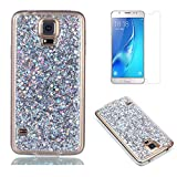 Fit for Samsung Galaxy S5 / S5 Neo Glitter Case with Screen Protector,OYIME [Silver Sequins] Shiny Bling Luxury Design Clear Ultra Thin Soft Rubber Protective Back Cover Transparent Scratch Resistant Drop Protection Bumper
