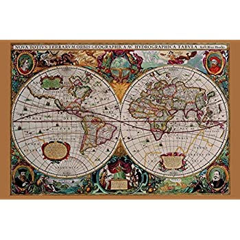 Amazon world map vintage style poster print posters prints classical world map poster 36 x 24in gumiabroncs Images