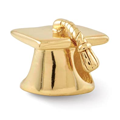 932b20ea8 Amazon.com: Graduation Cap Charm in 14K Gold Plated Silver for: Jewelry