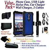 Value Pack + for 6'' ZTE Blade Max 3 blademax3 / MAX BLUE 4G LTE case Phone Case 360° Cover Screen Protector Crystal Holster Kick Stand Shock Bumper (Blue)