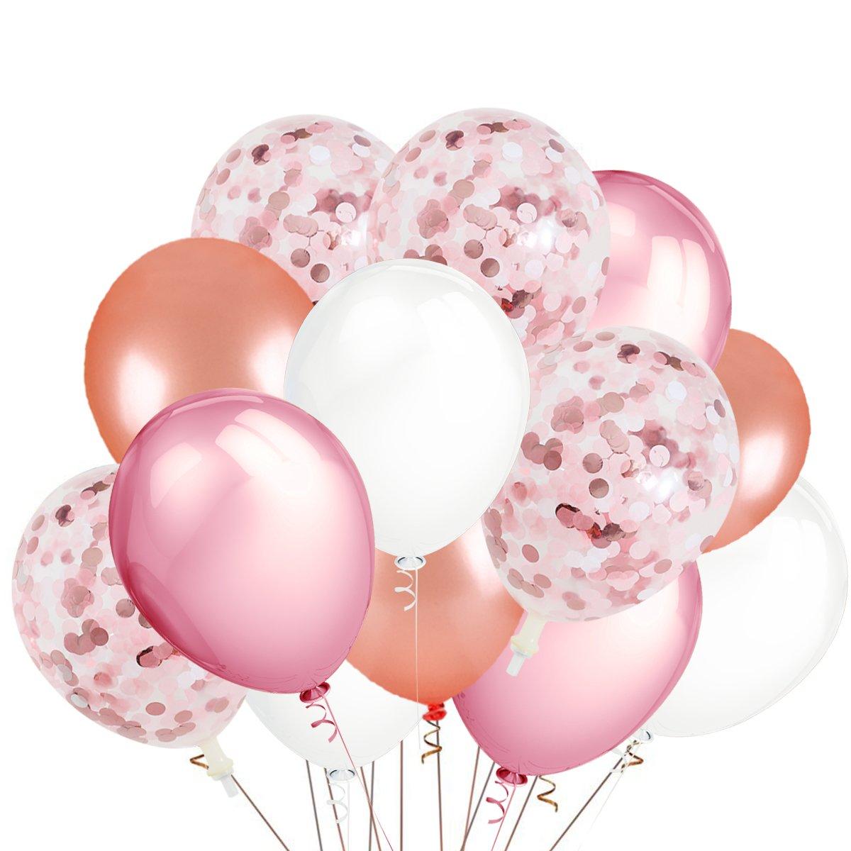 teepollyパーティーバルーン、30パックローズゴールド&ピンク&ホワイト色ラテックスバルーンと12パックローズゴールド&ピンク&ホワイト色紙吹雪balloons-bachelorette/ウェディング/ベビーシャワー/誕生日装飾   B07F1K6WYW