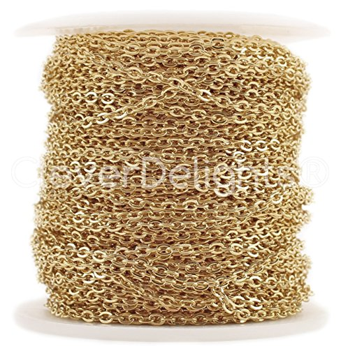 CleverDelights Cable Chain Spool - 30 Feet - Champagne Gold Color - 2x3mm Link - 10 Meters