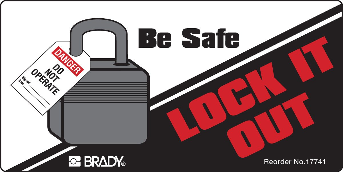 Brady 17741LS Lockout Tagout Labels, Adhesive, Vinyl, 2'' x 4'', Black/Gray/Red On White (Pack of 25) by Brady (Image #1)