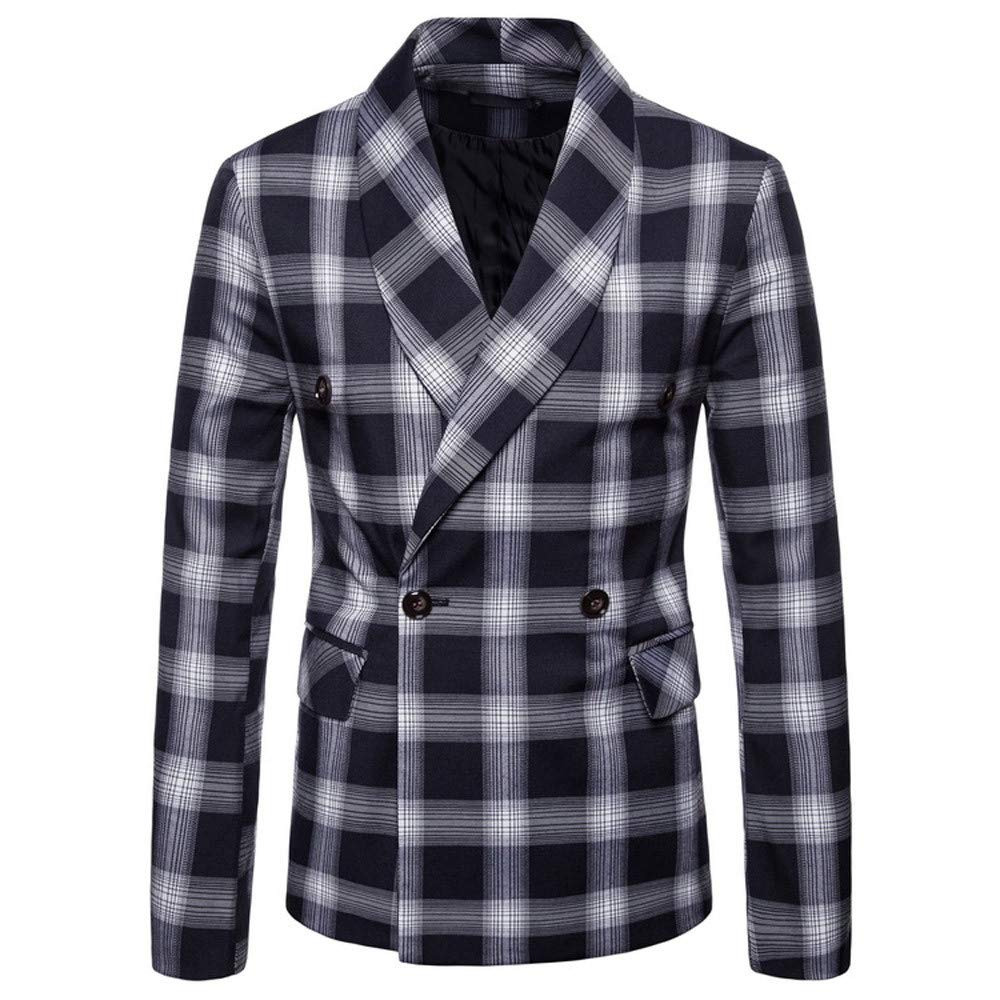Men's Jacket for Fashion Men's Autumn Winter Plaid Suit Lapel,Top Coat (M,Navy)