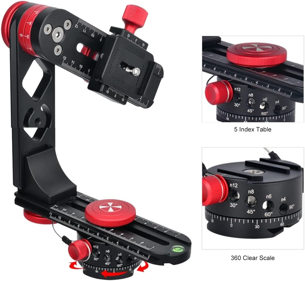 PULUZ 720 Degree Panoramic Aluminum Alloy Indexing Rotator Ball Head Quick Release Plate Kits for All DSLR Camera L Size Length: 210mm