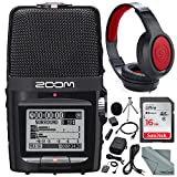 Zoom H2n Handy Portable Digital Audio Recorder with Samson Stereo Headphones and Accessory Bundle