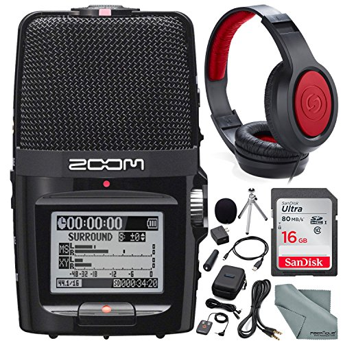 Zoom H2 Portable Recorder - Zoom H2n Handy Portable Digital Audio Recorder with Samson Stereo Headphones and Accessory Bundle