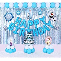 JIN,64pcs, Elsa 60cm, Olaf\Snow man 72cm, Colorful Balloons Party Supplies for Birthday Decoration, Girls \kids…