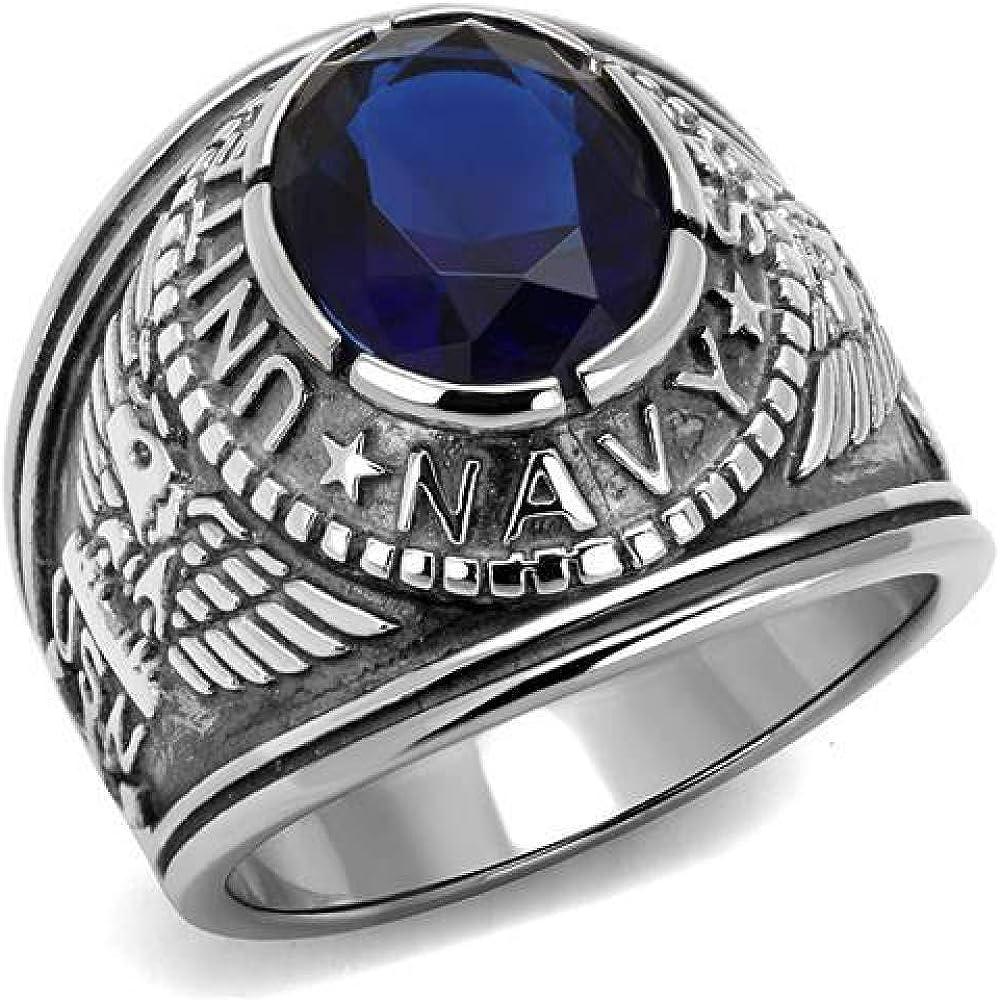 ISADY Chevali/ère Oxyde de zirconium bleu US Navy Saphir Bague Homme Acier
