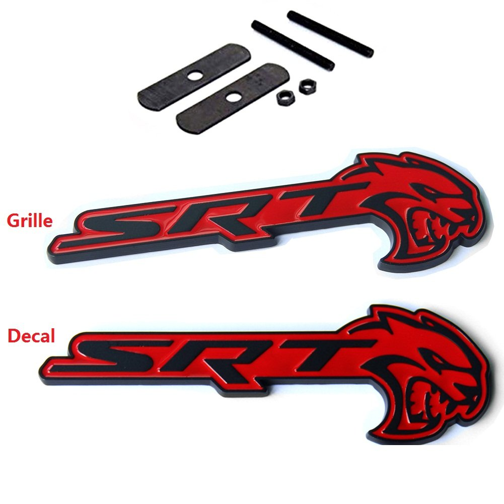 2x OEM SRT HELLCAT Grille and Decal Emblem Challenger Charger Blacck Red Sanucaraofo