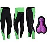 e83daefb0c4 ProAthletica Womens Winter Cool Max Padded Cycling Tights Trousers Running  Thermal Leggings (Black Green