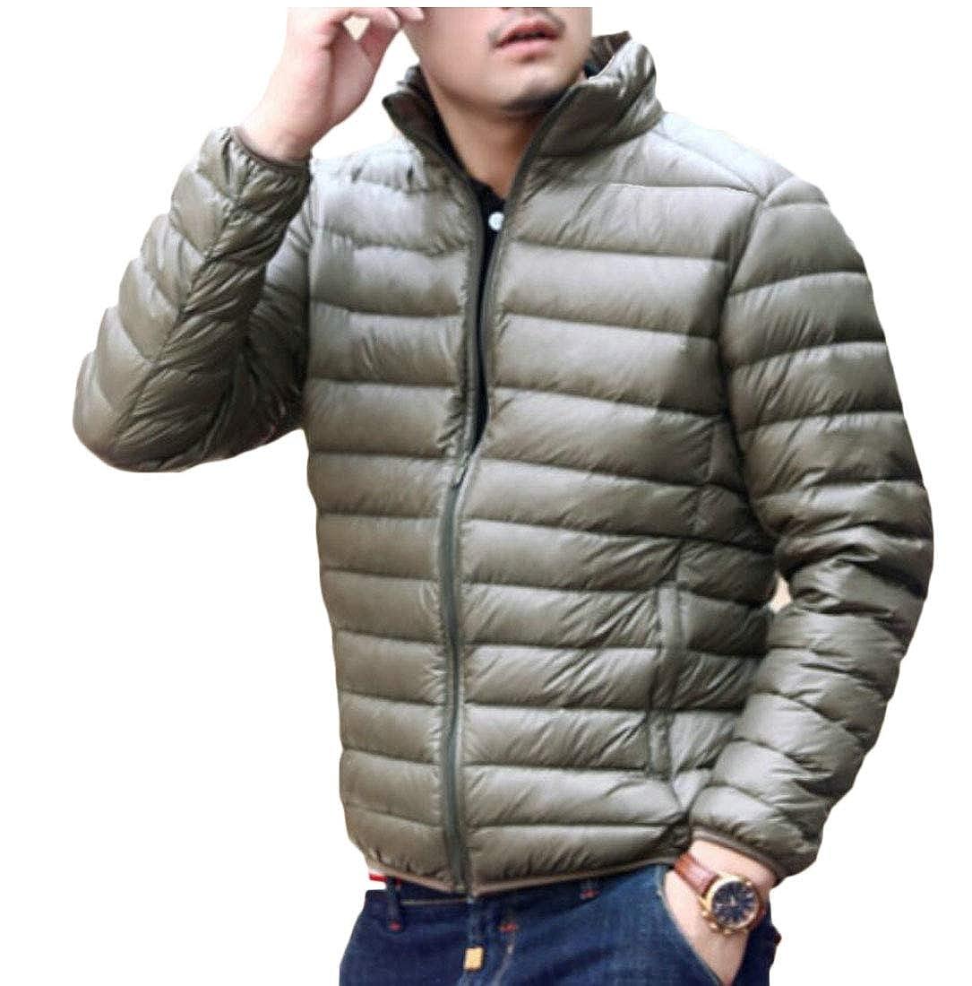 ouxiuli Men Lightweight Down Jackets Pocket Stand Collar Outwear Down Coats