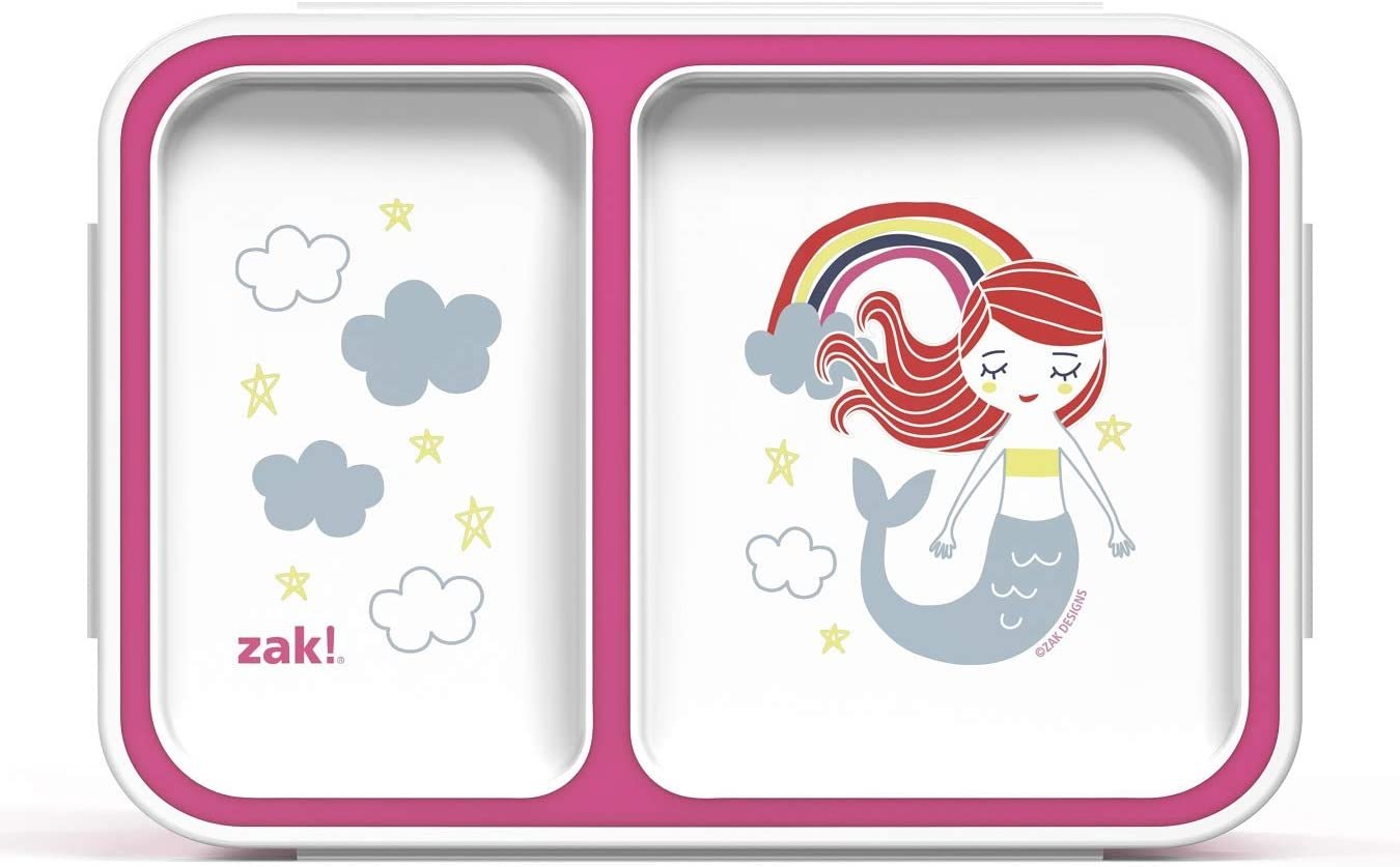 Zak Designs Reusable Lunch Box with Lid for Meal Zak Food Container, 2-Section Bento, Mermaid