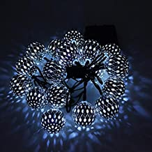Solar Globe String Lights, Naladoo Moroccan Ball String Lights Warm White,15ft 20 LED Fairy Orb Lantern Christmas Solar Powered String Lights for Outdoor Garden, Yard, Patio, Party, Home Decoration (B)