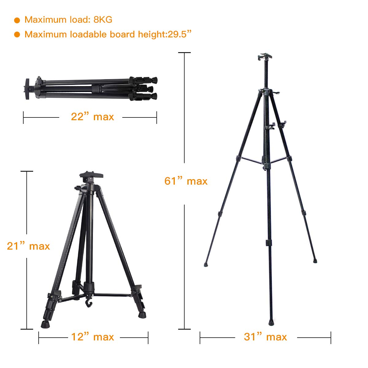Carrying Bag Included Hosim Stand Bracket Tripod Display Stand Triangular Easel for LED Flashing Illuminated Lighted Writing Board Whiteboard Chalkboard Posters Paintings Wedding Birthday Party