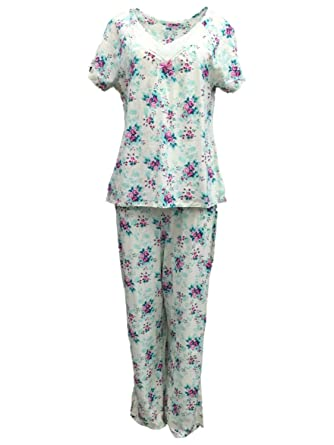 Laura Scott Womens Ivory Floral Pajamas Lightweight Short Sleeve Pajama Set  XL cc0a9863a