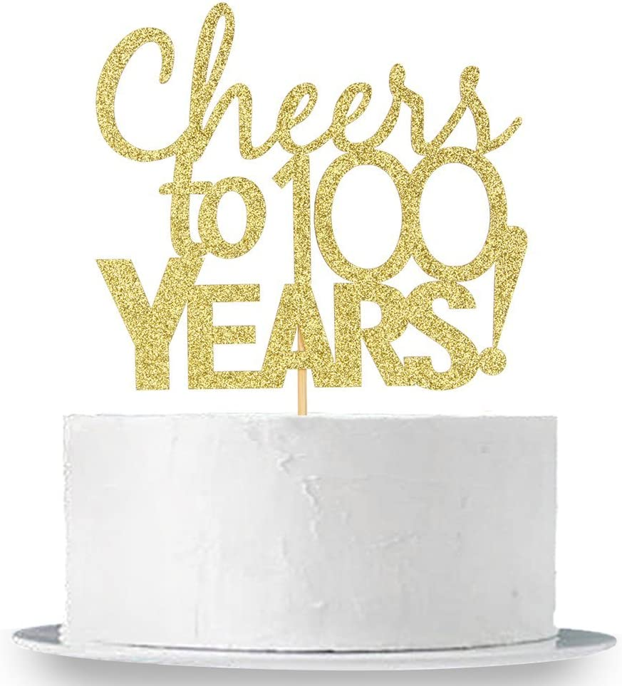 Cheers to 100 Years,100 /& Fabulous Party Decoration Gold Glitter Happy 100th Birthday Cake Topper,Hello 100