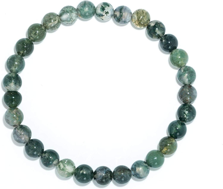 Taddart Minerals – Pulsera Verde de Piedra Preciosa Natural, ágata de Musgo con Bolas de 6 mm en Hilo elástico de Nailon – Hecha a Mano