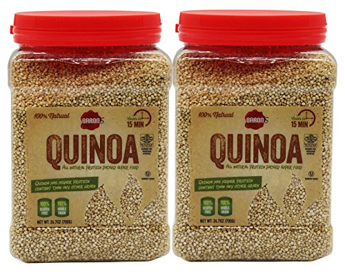 All Natural Quinoa 100% Whole Grain - Gluten Free - Kosher for Passover - Pack of 2-24.7-ounce Jar - By Baron's