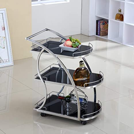 Rolling Kitchen Bathroom Trolley Cart/Metal Glass Tea Wine Rack/Utility Storage/Home