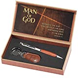 Man of God 2 Piece Metal Woodgrain Ballpoint Pen and Leatherette...