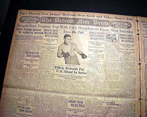 TIGER FLOWERS 1st African-American Middleweight BOXING Champion 1926 Newspaper THE OMAHA EVENING BEE, Nebraska, February 27, - Nebraska Boxer