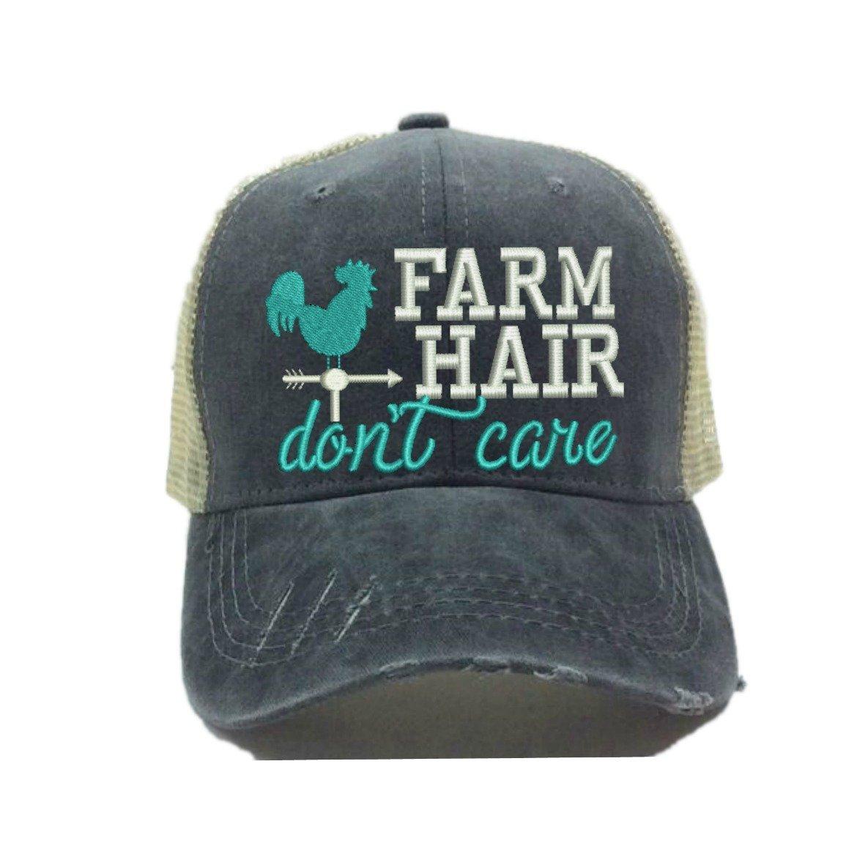 """Women's Trucker Hat""""Farm Hair Don't Care"""" Custom Baseball Cap"""