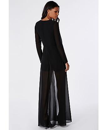Womens Chiffon Tina Chiffon Maxi Overlay Playsuit Black - 6  Amazon.co.uk   Clothing