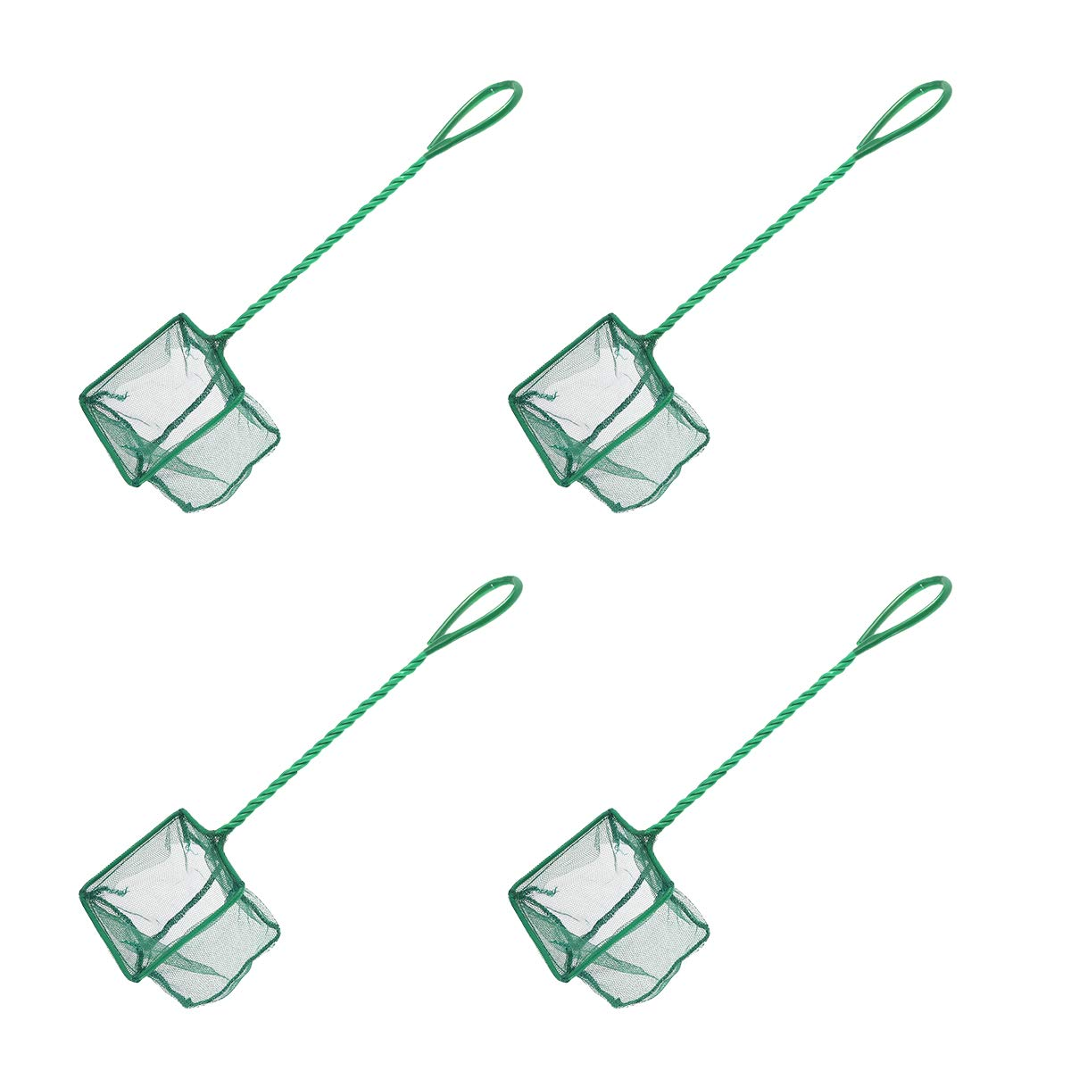 POPETPOP Portable Fishing Net Shrimp Dip Net with Handle for Aquarium Fish Tank Pond 4 Inch 4pcs Green
