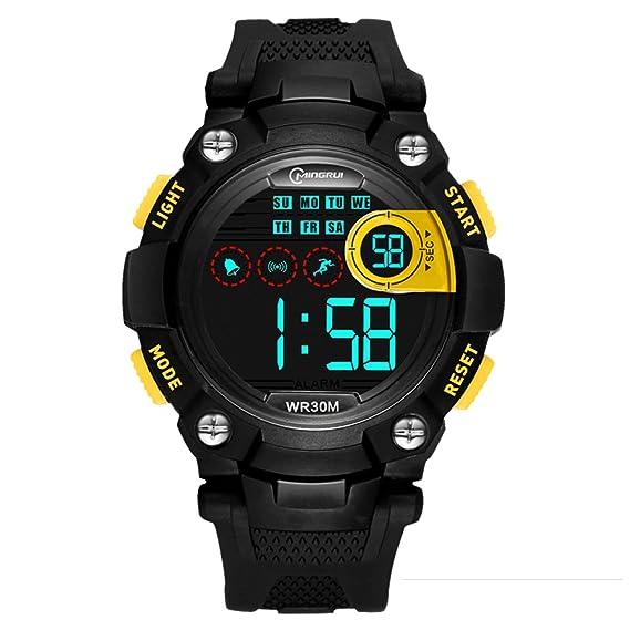 [Niño] Relojes Digitales Impermeable Multifunción Luminoso Running [Movimiento] Estudiantes Reloj Pin Hebilla Correa -C: Amazon.es: Relojes