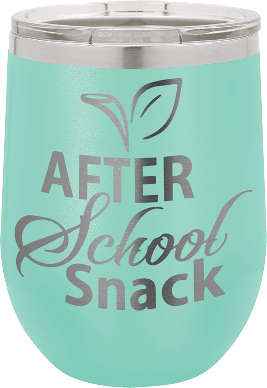 After School Snack - 12oz wine tumbler with lid - Stainless Steel - Insulated Stemless Double Wall Vacuum Tumbler - Funny Sayings - Mom Nana Dad Wife BFF Mens Woman Teens Teal