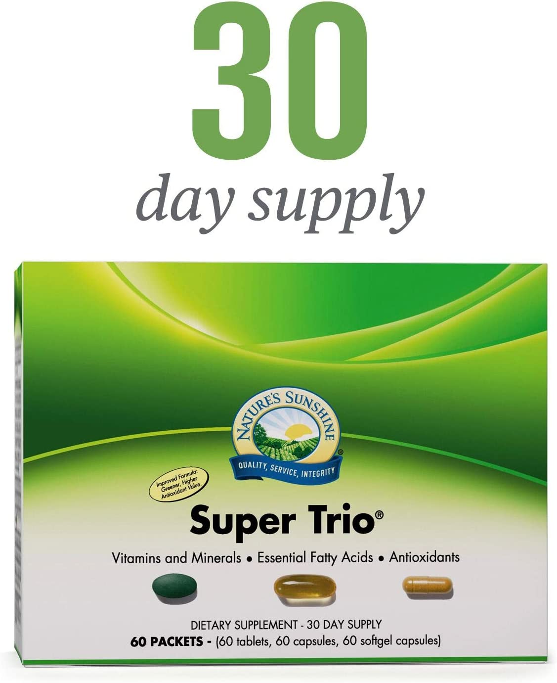 Nature s Sunshine Super Trio, 30 Day Vitamin Packs for Men and Women Provide a Potent Blend of Vitamins, Minerals, Essential Fatty Acids, and Antioxidants