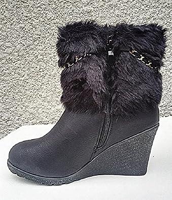 fashionfolie Femme Bottes Bottine Talon compensées Fourré Fourrure Fur Cheville Court HX057 Noir
