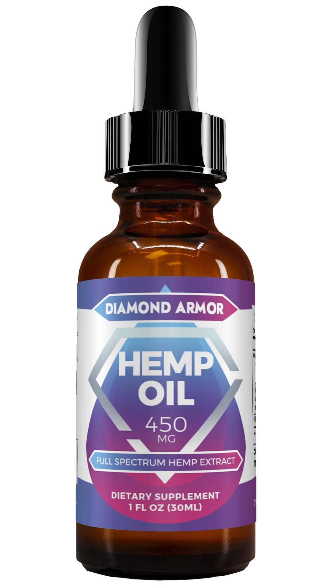 Full Spectrum Hemp Seed Oil Drops - 450mg | Promotes Anxiety Relief, Reduces Stress & Chronic Pain, Anti-Inflammatory & Sleep Aid with Omega 3, 6 & 9 Oils | ZeroTHC CBD Cannabidiol - Mint Flavor by Diamond Armor