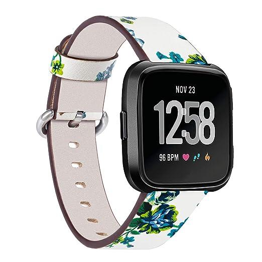 para la Banda de Cuero Versa Fitbit, Correa de Cuero Genuino Reloj, Pulsera de Recambio y Accesorios Mujeres Hombres: Amazon.es: Relojes
