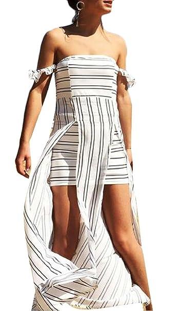 126c61274ab5 Yayu Women s Fashion Striped Open Back Sexy Chiffon Off The Shoulder Split  Maxi Dresses ...