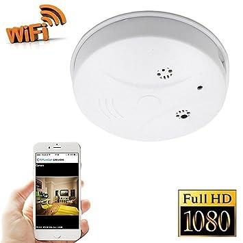 fivesky 1080P HD WiFi Red Cámara Espía Detector de Humo Interior Sensor de Movimiento Cámara Grabación Mirando Gráfica Loop a Distancia de Soporte iPhone ...
