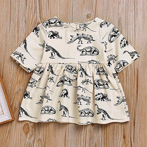 Mini honey Infant Baby Girls Summer Playwear Sun Dresses One-Piece Dress With Dinosaurs Print (3-6 Months, Beige) by Mini honey (Image #2)