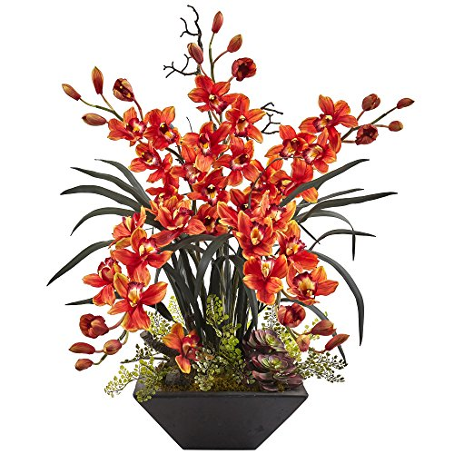 Nearly Natural 1404-BG Cymbidium Orchid Silk Arrangement with Black Vase, D