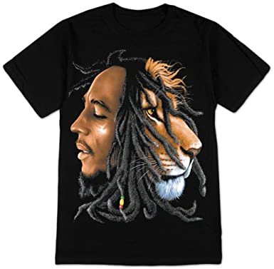 Amazon.com: Bob Marley Lion Profile Adult T-Shirt: Music Fan T ...