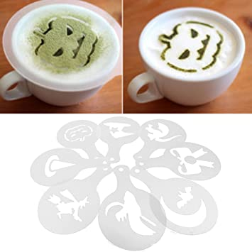 Vococal® 8 Stk Halloween Thema Cappuccino Kaffee Schablonen - Latte ...