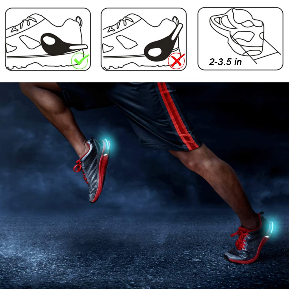 cinsey LED Shoe Clip Light Jogging Walking Spinning or Biking 1 Pair Color Changing Flash Shoe Safety Clip Lights for Runners /& Night Reflective Running Gear for Running