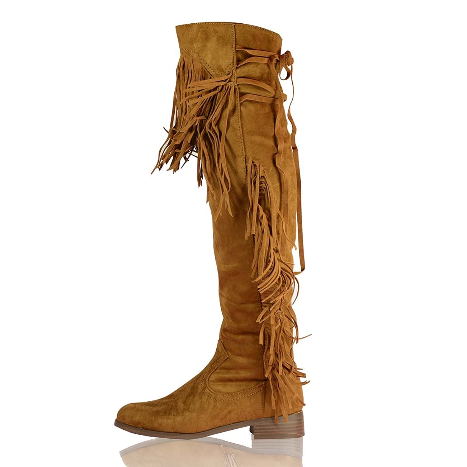 f456dd5ea New Ladies Over the Knee Fringed Boots Womens Thigh High Tassel Low Heel  Boots Work Winter Western Riding Flat Shoes Size UK 3-8 (UK 6, ...